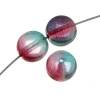 Glass Bead Cracked 8mm 3-tone Crystal/mauve/teal Strung